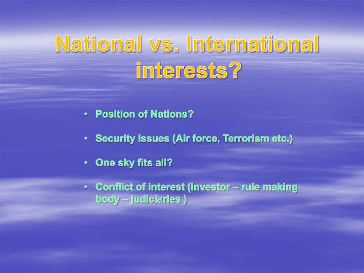 National vs. International