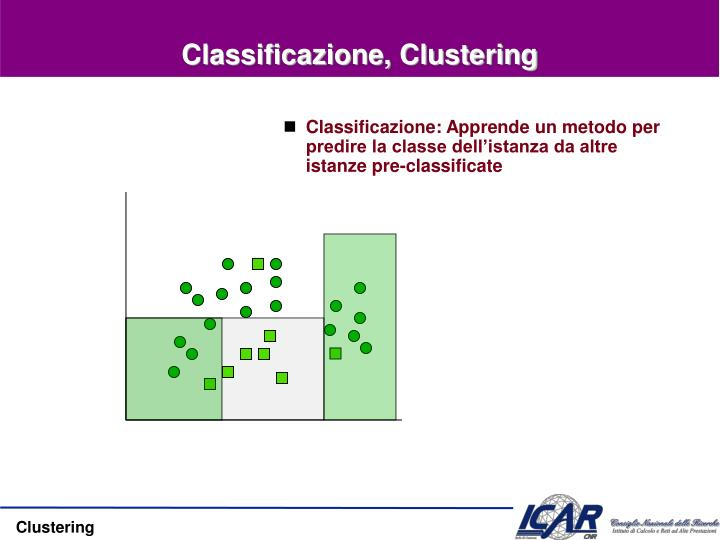 Classificazione, Clustering