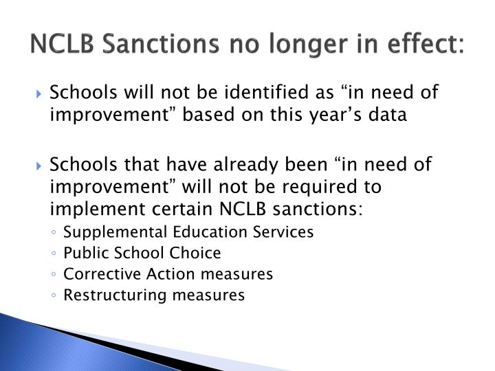 NCLB Sanctions no longer in effect: