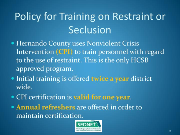 Policy for Training on Restraint or Seclusion