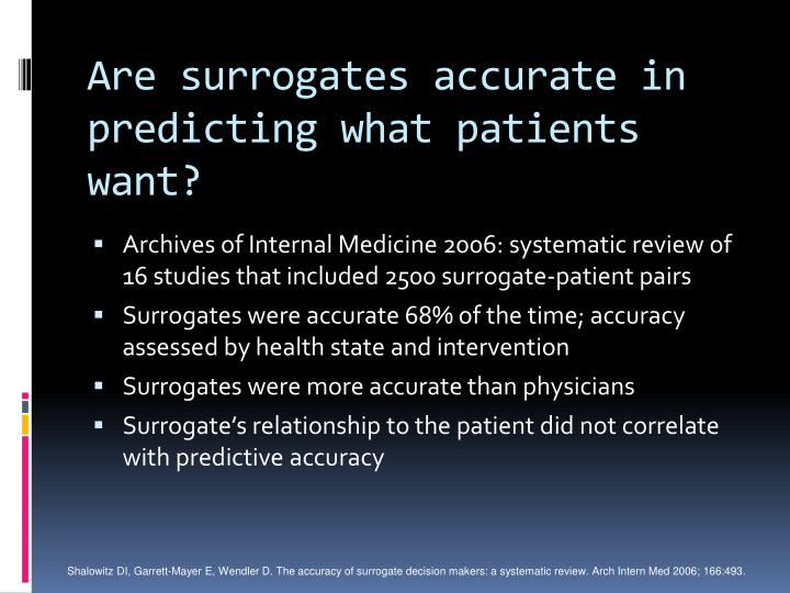 Are surrogates accurate in predicting what patients want?