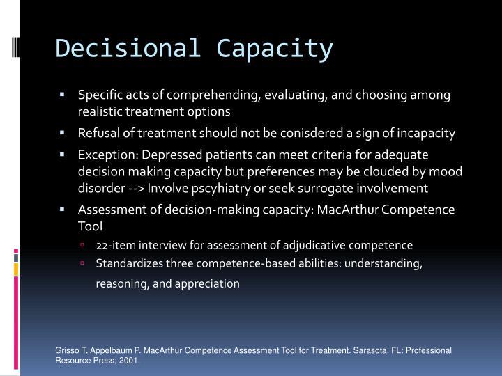 Decisional Capacity