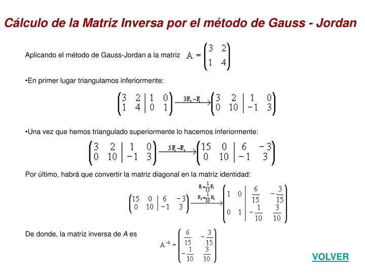 Aplicando el método de Gauss-Jordan a la matriz