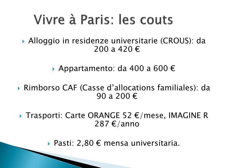 Vivre à Paris: les couts