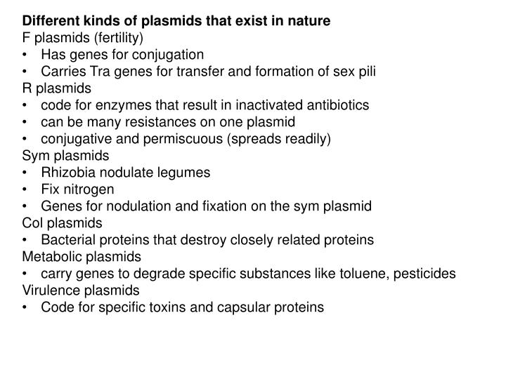 Different kinds of plasmids that exist in nature