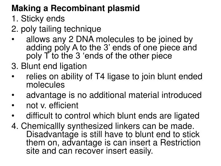 Making a Recombinant plasmid