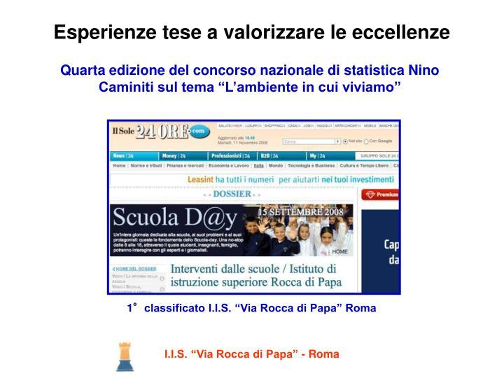 """Quarta edizione del concorso nazionale di statistica Nino Caminiti sul tema """"L'ambiente in cui viviamo"""""""