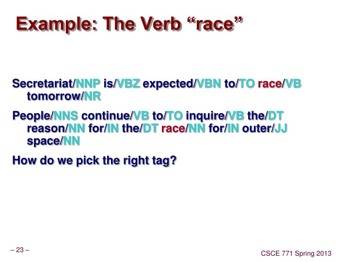 "Example: The Verb ""race"""