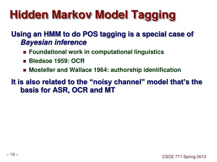 Hidden Markov Model Tagging