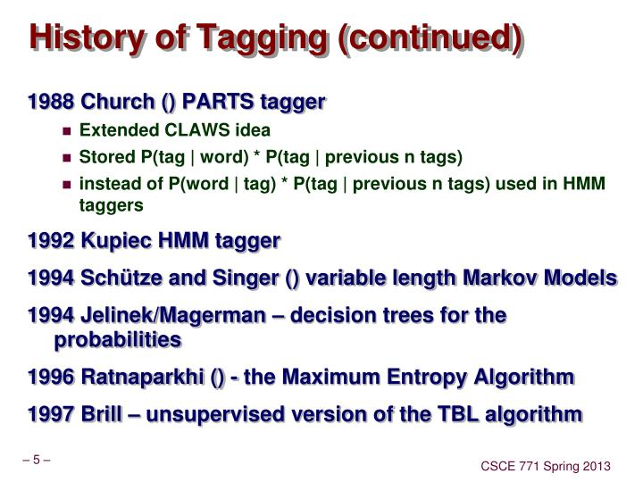 History of Tagging (continued)