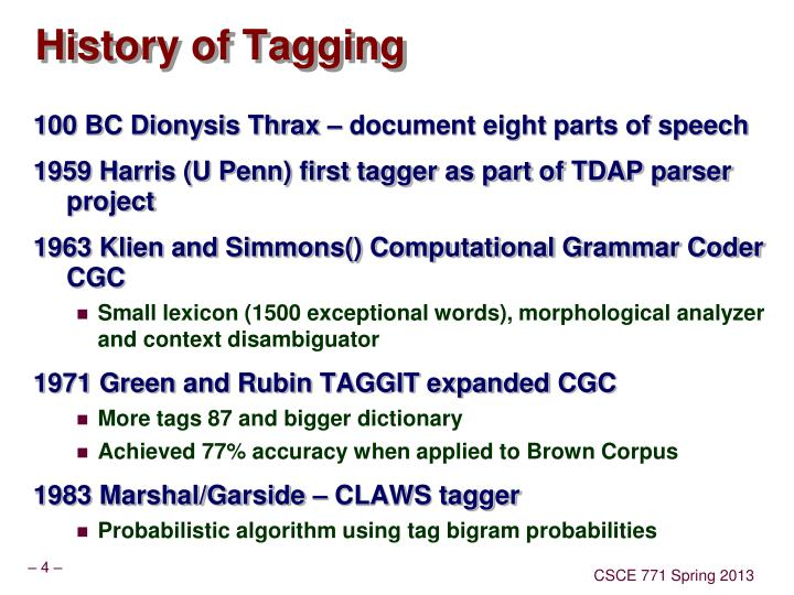 History of Tagging