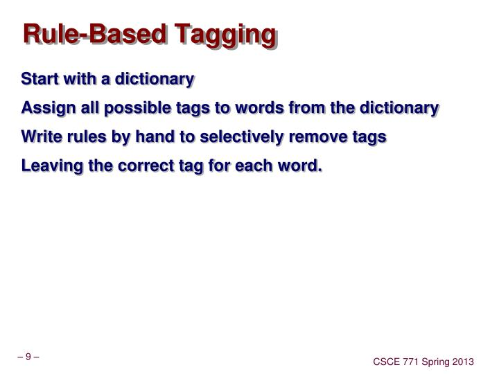 Rule-Based Tagging