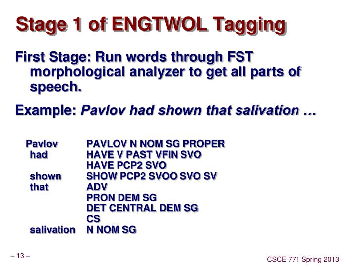 Stage 1 of ENGTWOL Tagging