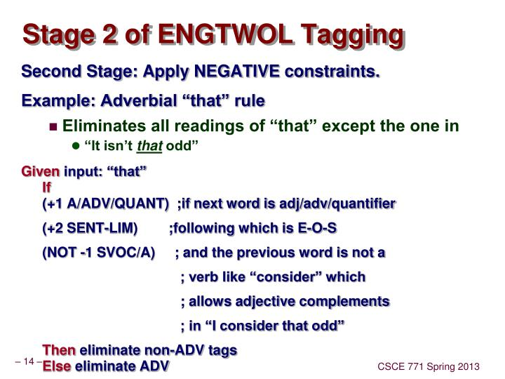 Stage 2 of ENGTWOL Tagging