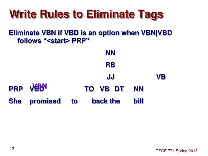 Write Rules to Eliminate Tags