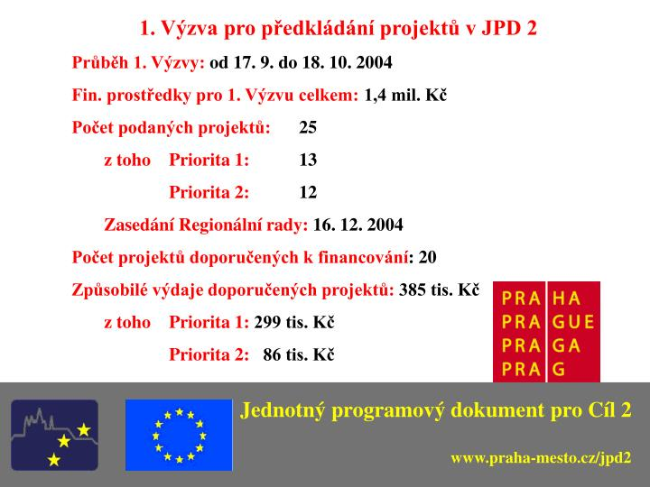 1. Výzva pro předkládání projektů v JPD 2