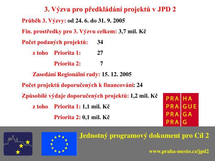 3. Výzva pro předkládání projektů v JPD 2