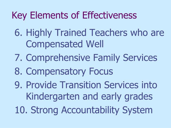 Key Elements of Effectiveness