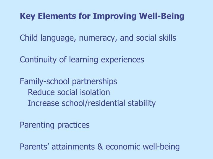 Key Elements for Improving Well-Being