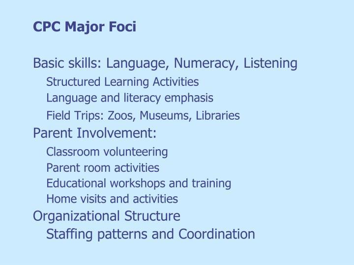 CPC Major Foci
