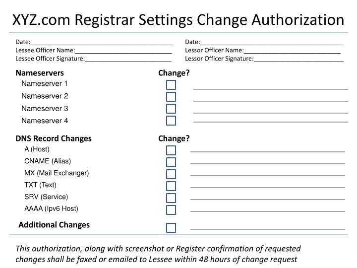 Xyz com registrar settings change authorization