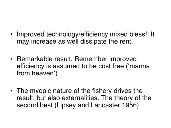 Improved technology/efficiency mixed bless!! It may increase as well dissipate the rent.