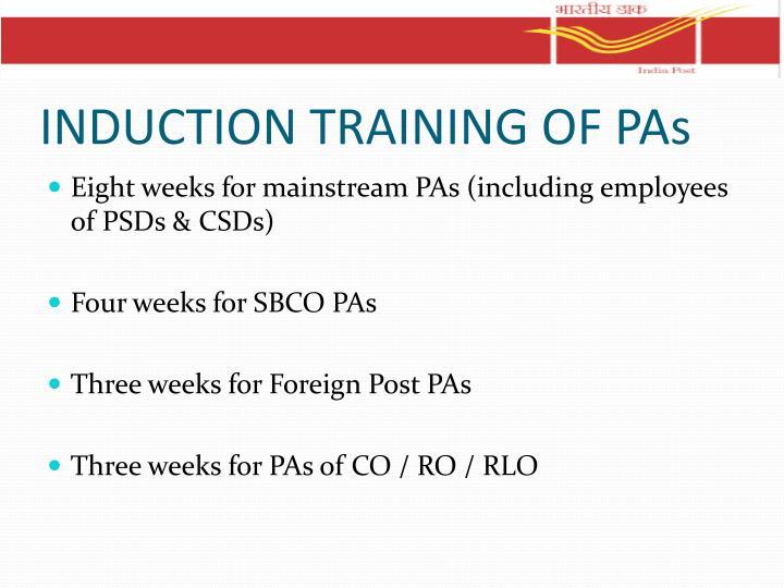 INDUCTION TRAINING OF PAs