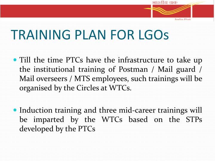 TRAINING PLAN FOR LGOs