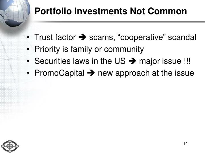 Portfolio Investments Not Common