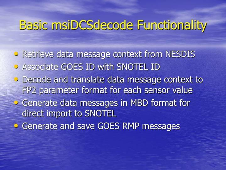 Basic msiDCSdecode Functionality