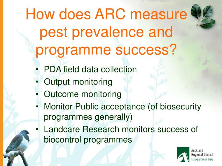 How does ARC measure pest prevalence and programme success?