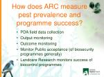 how does arc measure pest prevalence and programme success