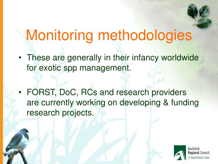 Monitoring methodologies