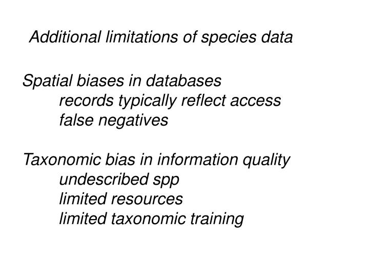 Additional limitations of species data