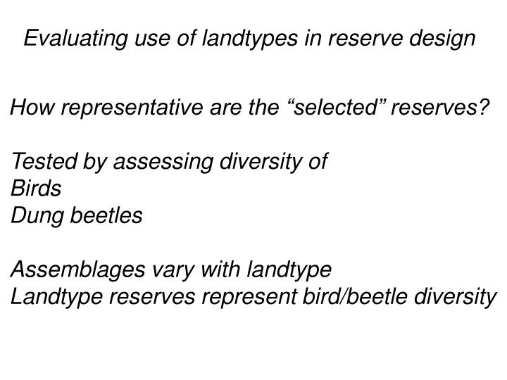 Evaluating use of landtypes in reserve design