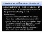 experience learned from recent mine disaster