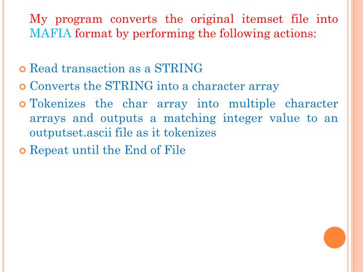 My program converts the original itemset file into