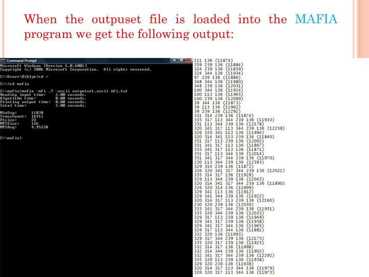 When the outpuset file is loaded into the