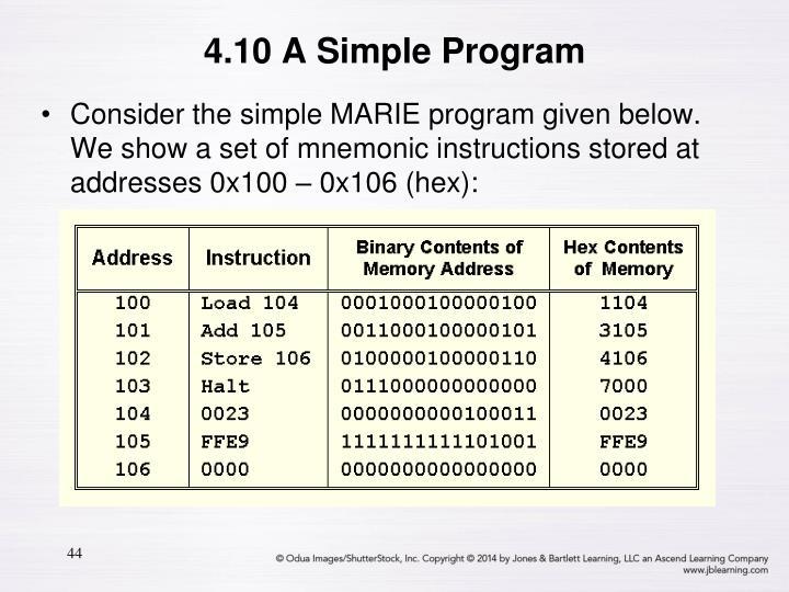 4.10 A Simple Program