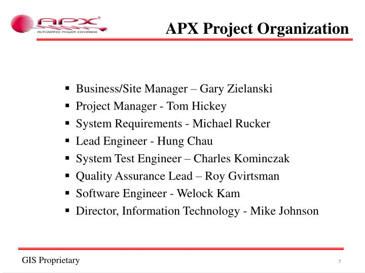 APX Project Organization