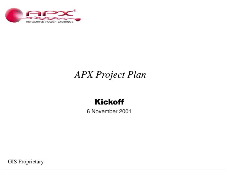 Apx project plan