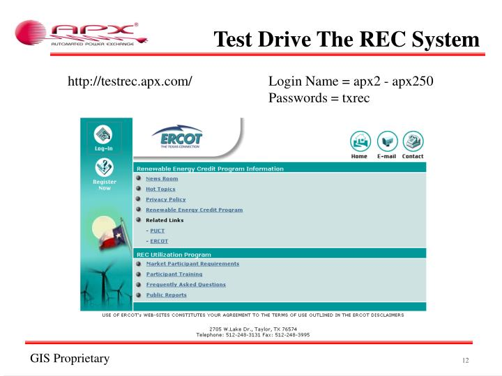 Test Drive The REC System