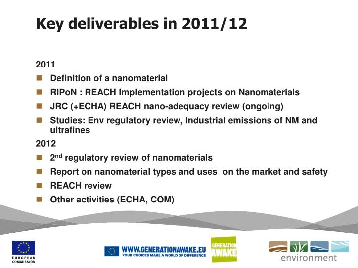 Key deliverables in 2011 12