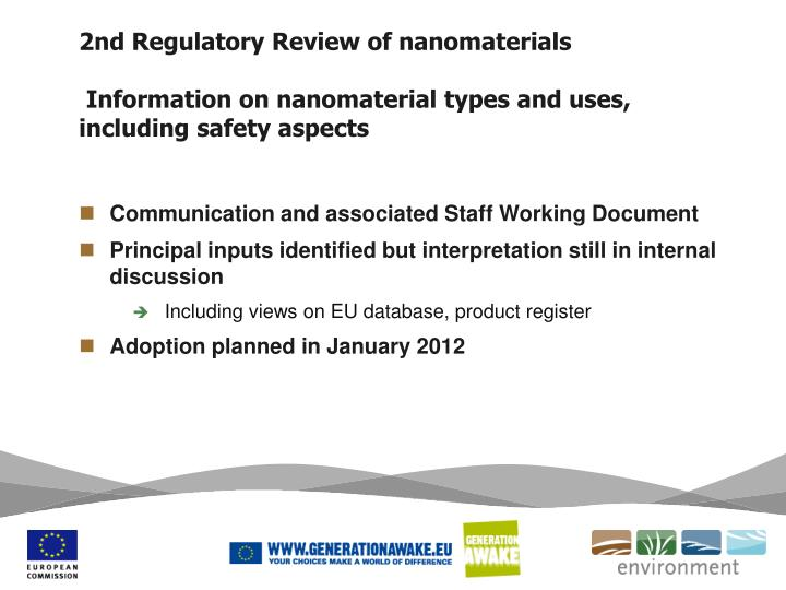 2nd Regulatory Review of nanomaterials