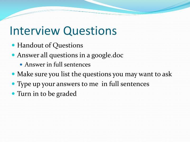 handout questions