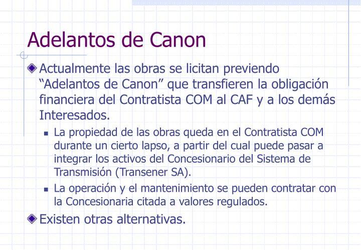 Adelantos de Canon