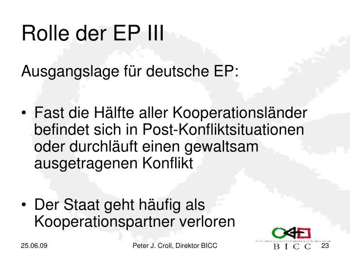 Rolle der EP III