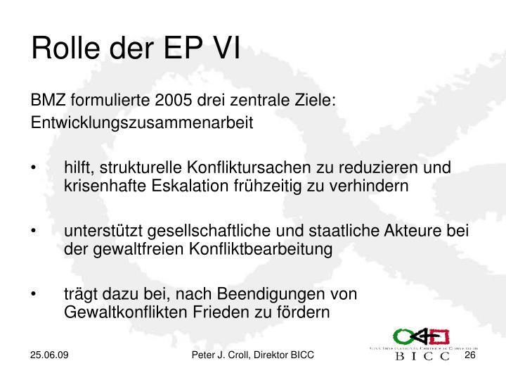 Rolle der EP VI