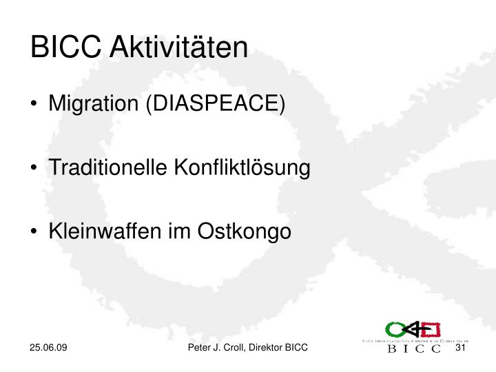 BICC Aktivitäten