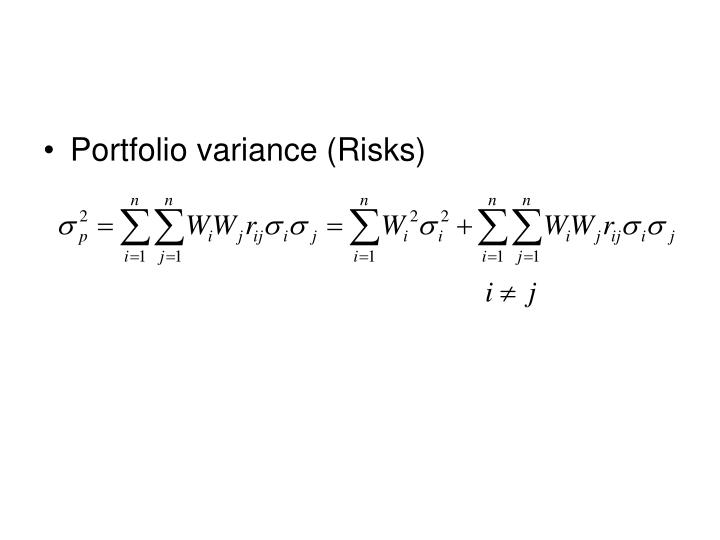 Portfolio variance (Risks)
